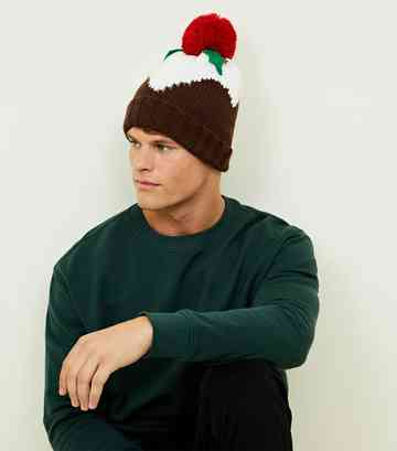 Multicoloured Christmas Pudding Beanie Hat
