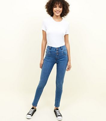 Blue High Waist 3 Button Yazmin Jeans