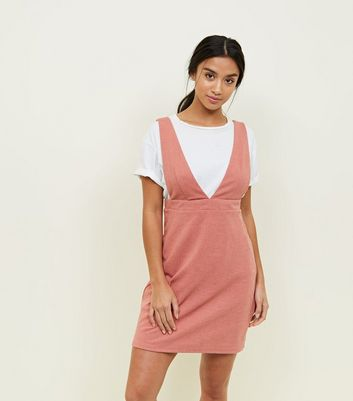 Petite Rust V Neck Mini Pinafore Dress