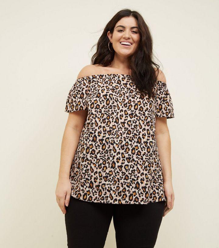98da447695e77 Curves Black Leopard Print Bardot Top
