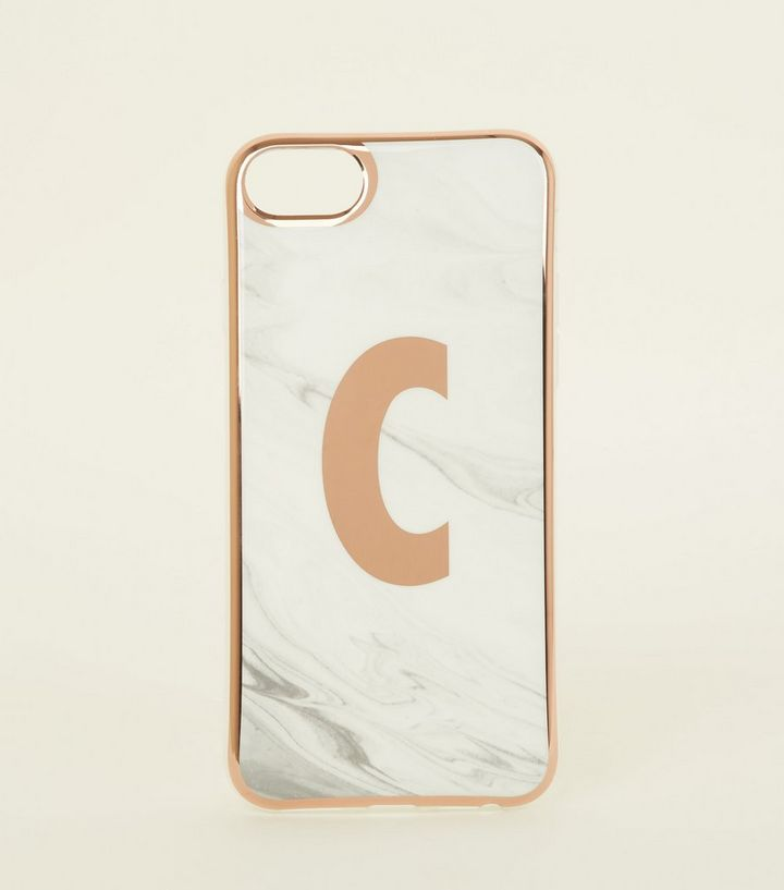 big sale 7437a 37771 White Marble Effect C Initial iPhone 6/6s/7/8 Case Add to Saved Items  Remove from Saved Items