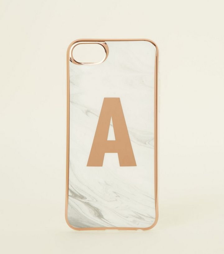 sale retailer 1b500 1fdfc White Marble Effect A Initial iPhone 6/6s/7/8 Case Add to Saved Items  Remove from Saved Items