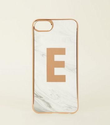White Marble Effect E Initial iPhone 6/6s/7/8 Case