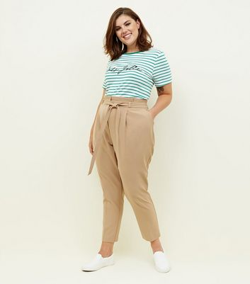 Curves Camel Paperbag Waist Tapered Trousers