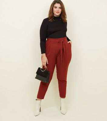 Curves Rust Paperbag Waist Tapered Trousers