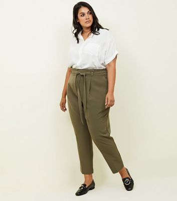 Curves Khaki Paperbag Waist Tapered Trousers