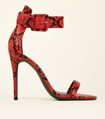 Red Faux Snake Ankle Strap Stiletto