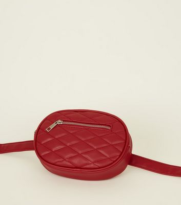Red Quilted Round Belt Bag New Look