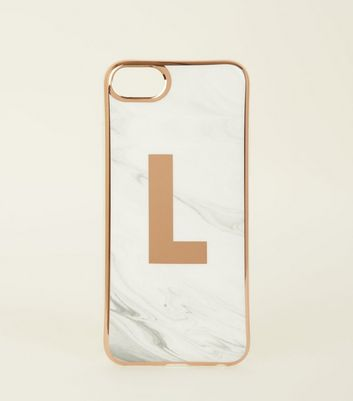 White Marble Effect L Initial iPhone 6/6s/7/8 Case