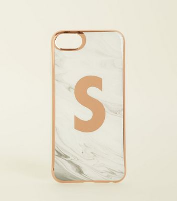 White Marble Effect S Initial I Phone 6/6s/7/8 Case by New Look