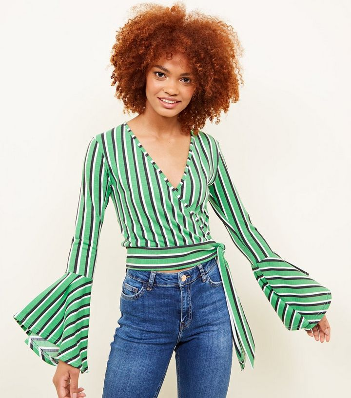 6844cded48dcb7 joyingtwo Womens Cross Front T shirts Green XXL Source · Green Stripe Bell  Sleeve Wrap Top New Look