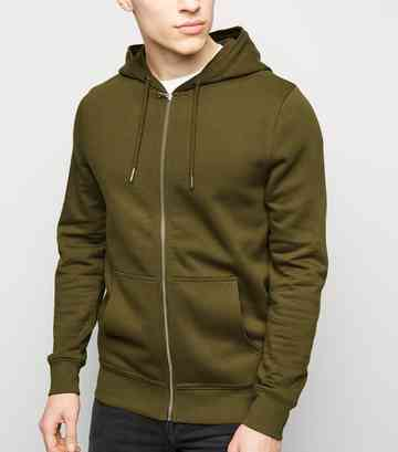 Green Zip Through Hoodie