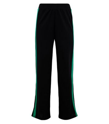Cameo Rose Black Side Stripe Split Hem Trousers New Look