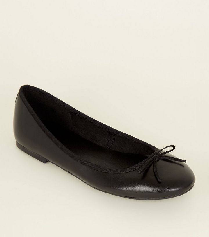 39256bfa6 Black Leather Ballet Pumps | New Look