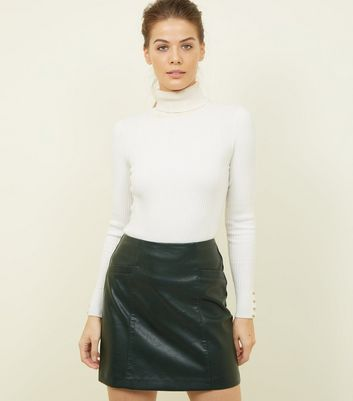 Dark Green Leather-Look Mini Skirt