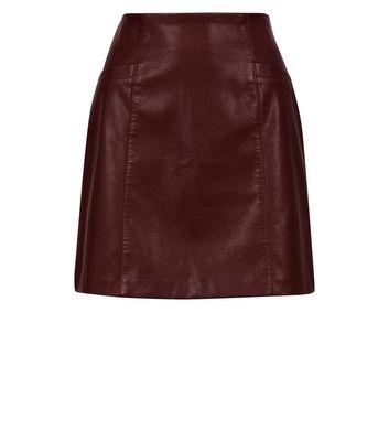 Burgundy Leather-Look Mini Skirt New Look