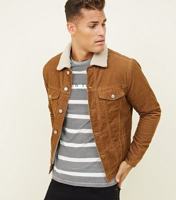 shop for Men's Camel Borg Lined Corduroy Jacket New Look at Shopo