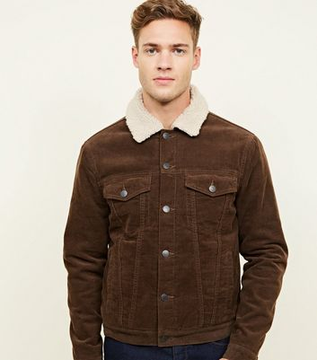 Dark Brown Borg Lined Corduroy Jacket