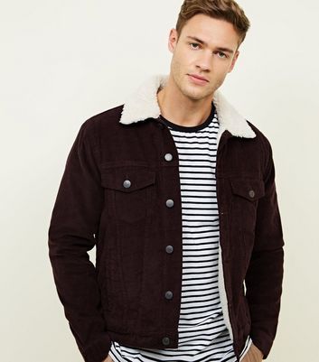 Burgundy Borg Lined Corduroy Jacket