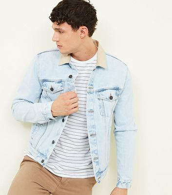 Pale Blue Corduroy Collared Denim Jacket