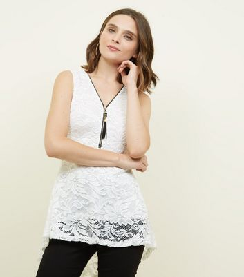 Mela White Half Zip Lace Peplum Top
