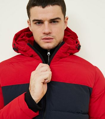 shop for Men's Red and Navy Colour Block Puffer Jacket New Look at Shopo