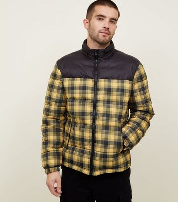Yellow Check Puffer Jacket