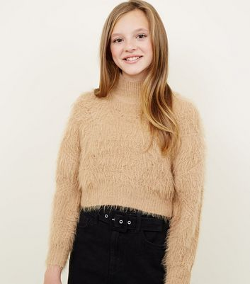 Girls Camel Fluffy High Neck Jumper by New Look