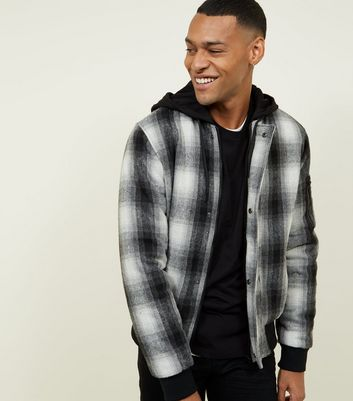 Black Check Knit Bomber Jacket