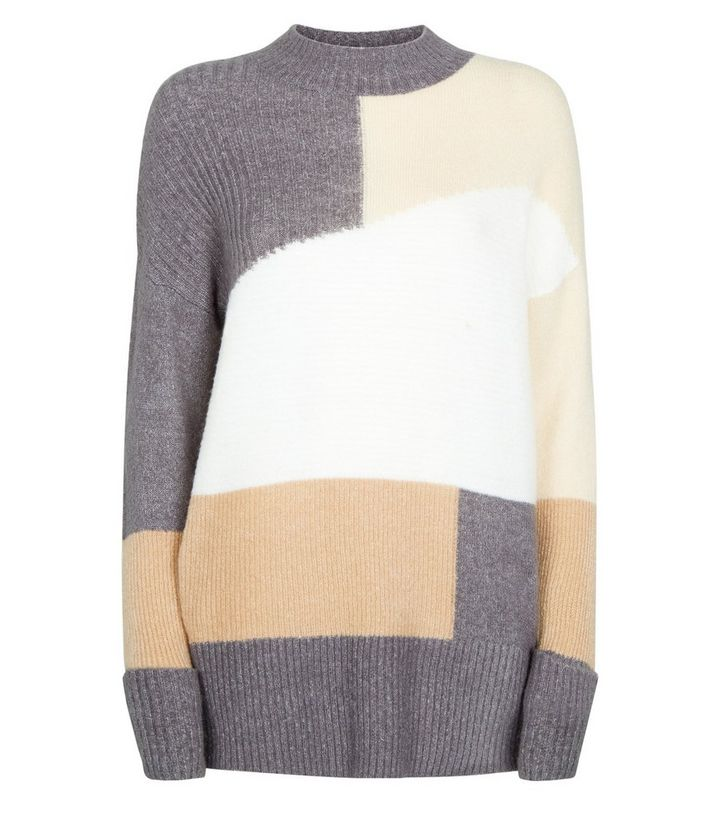 Camel High Neck Patchwork Knit Jumper | New Look