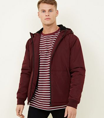 Burgundy Borg Hood Zip Through Coat