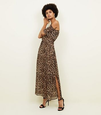 blue vanilla brown leopard print side split maxi dress new look