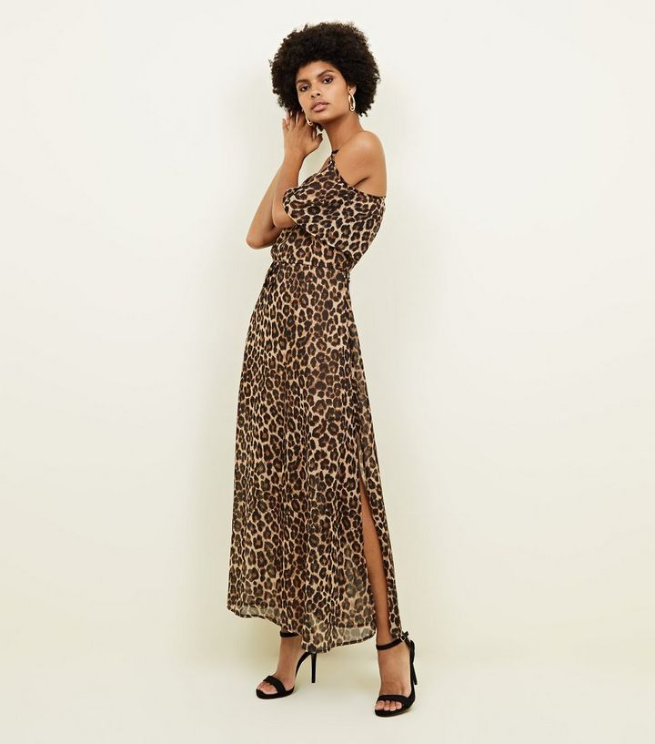 771bb6c102 Blue Vanilla Brown Leopard Print Side Split Maxi Dress