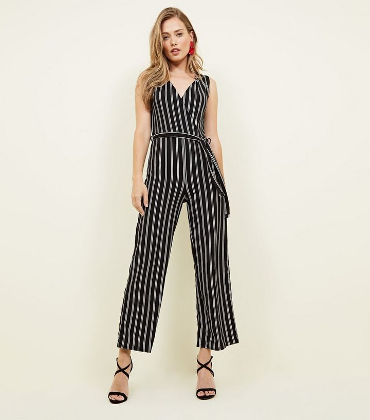 b58be9488cfb Cameo Rose Black Stripe Wrap Jumpsuit