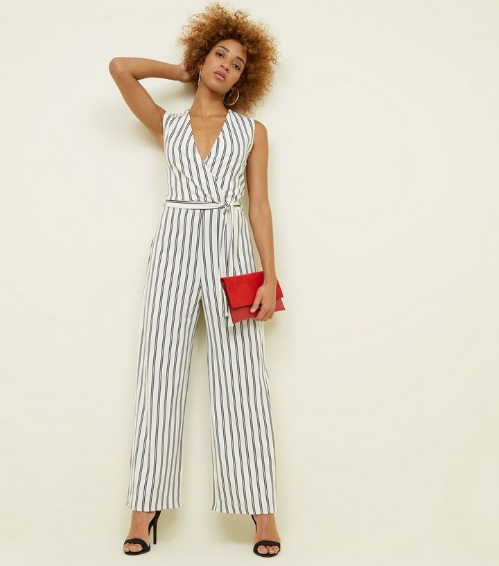 f32c773778e Cameo Rose White Stripe Wrap Jumpsuit