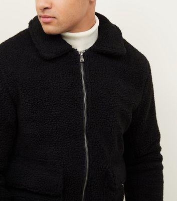 Schwarze Teddyfell Jacke mit Reißverschluss vorne | New Look