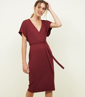 Plum Ribbed Wrap Front Midi Dress