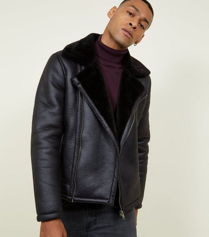 73e7fc120b7ac Black Faux Shearling Trim Aviator Jacket