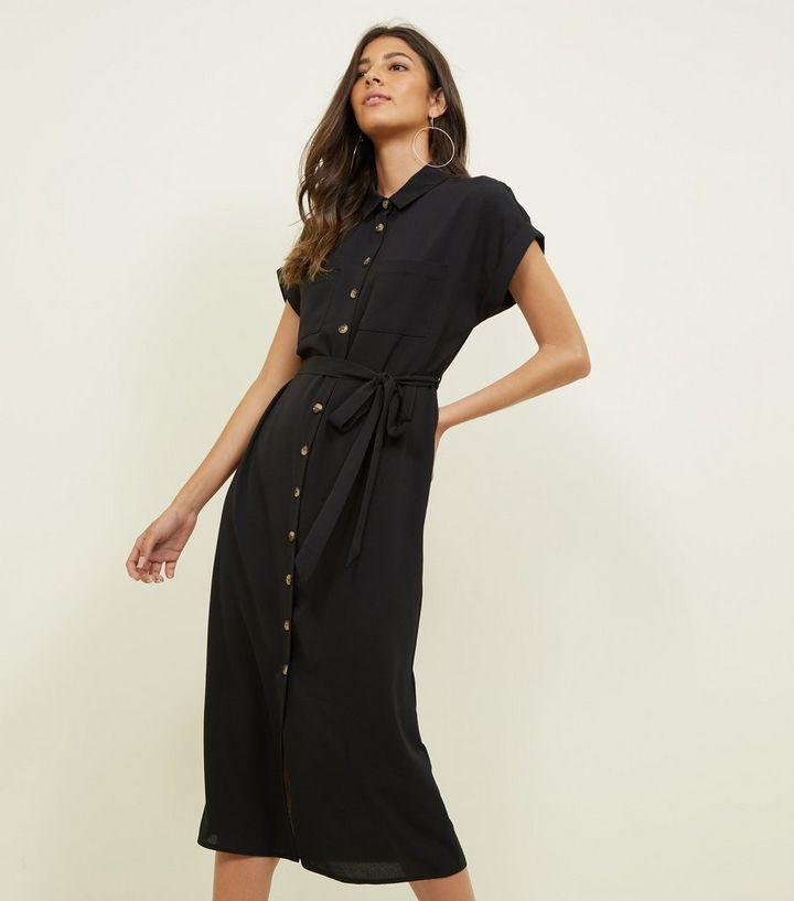 aea83d4428b1 Black Midi Shirt Dress
