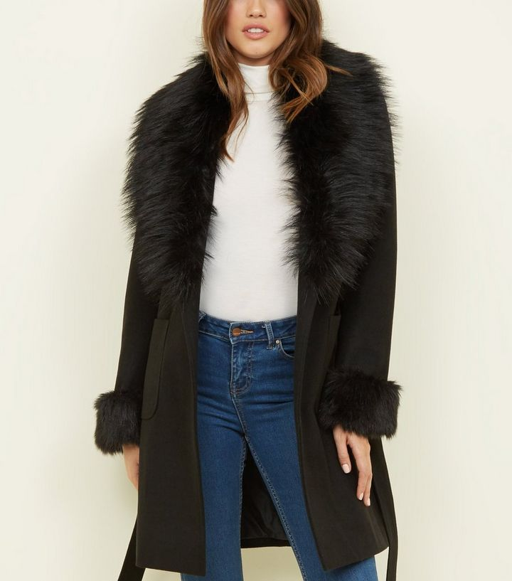 2dec51b75 Black Detachable Faux Fur Trim Coat | New Look