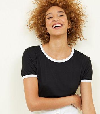 Black Contrast Ringer T-Shirt New Look