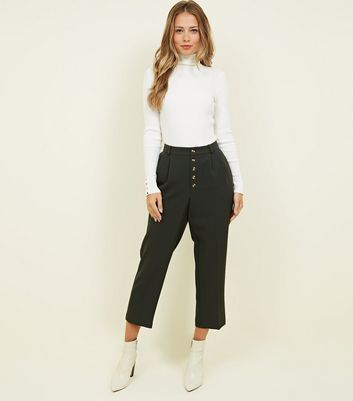 Dark Green High Waist Button Front Trousers