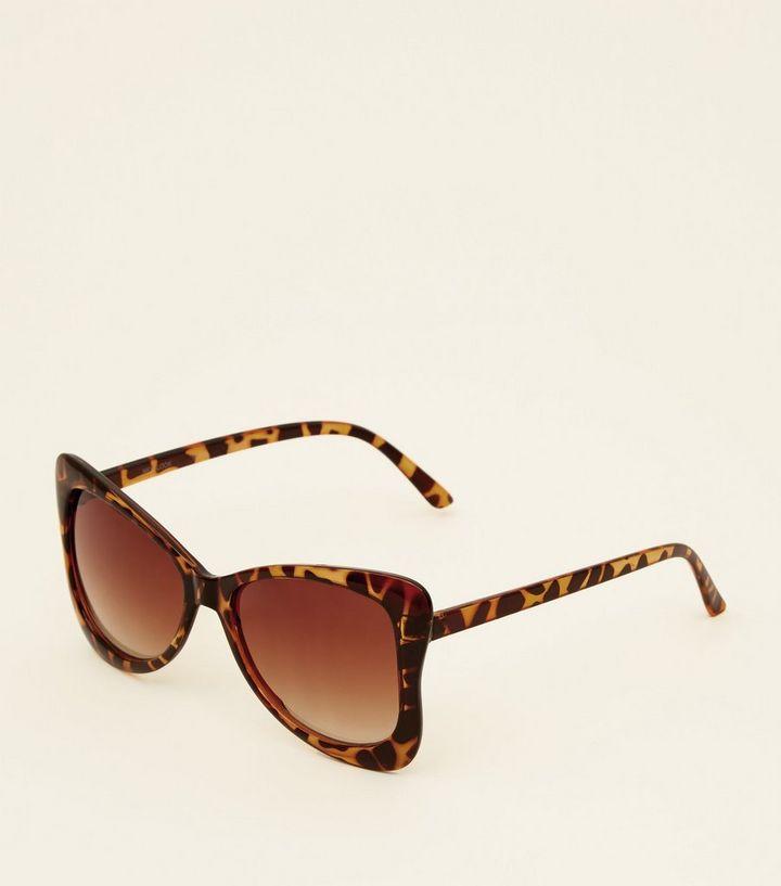 f9bc8f20493 Dark Brown Faux Tortoiseshell Print Butterfly Sunglasses