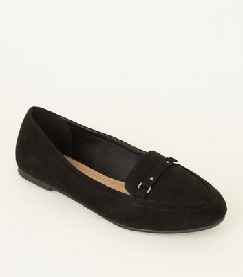 Girls Black Suedette Ring Strap Front Loafers