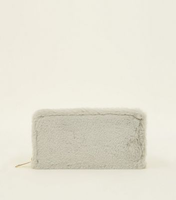 Grey Faux Fur Zip Around Purse