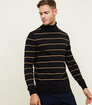 Black Stripe Roll Neck Jumper