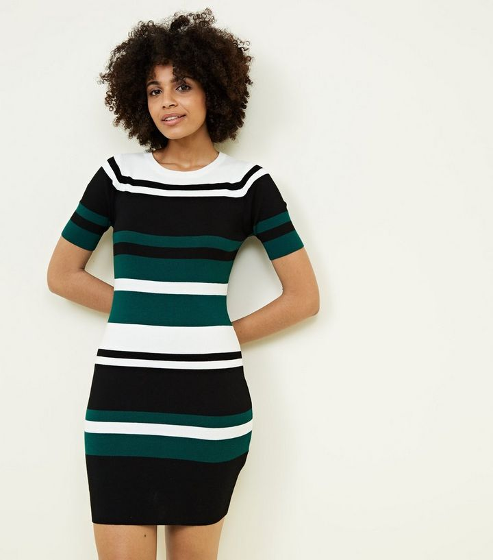 1acaa099 Green Colour Block Stripe Ribbed Bodycon Dress | New Look