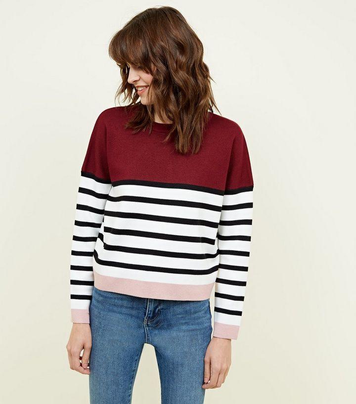 Dunkelroter Pullover mit Colour-Block-Streifen   New Look 72be1dcab1