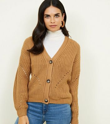 Camel Chunky Pointelle Knit Cardigan