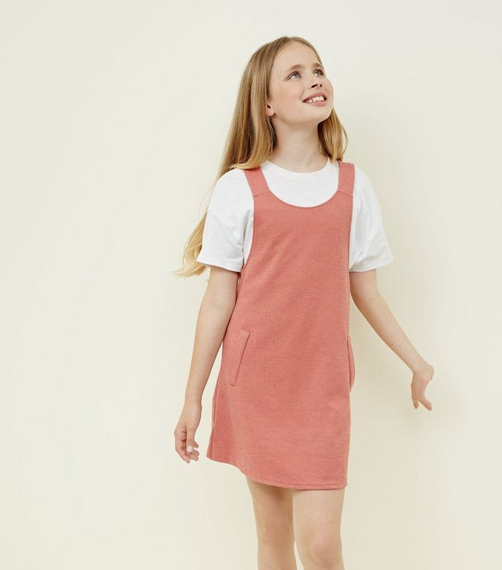 d56849831055 Girls Mid Pink Pinafore Dress | New Look